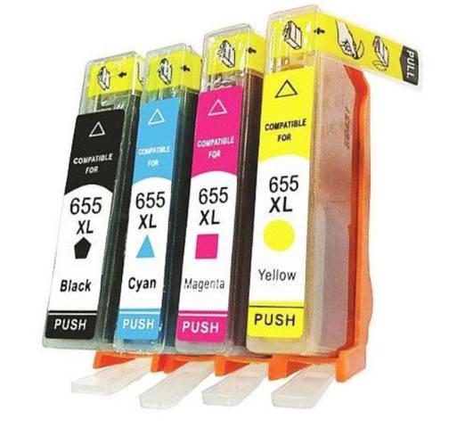Zestaw Tuszy 4x 655XL CMYK do HP DeskJet 3525 4615 4625 5525 6525 / Wszystkie kolory / Nowe zamienniki
